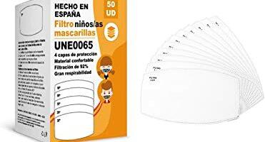 filtros para mascarillas niños UNE0065 - REUTILIZABLES - fabricados en ESPAÑA - hidrófobo, antiestático y antibacteriano, muy transpirable
