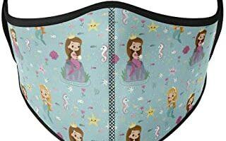 Mascarilla higiénica para niña de tela, reutilizable, lavable con estampado de princesa sirena, color azul, unisex, talla niños