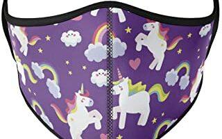 Mascarilla higiénica para niños de tela, reutilizable, lavable con unicornios color lila, unisex, talla niños
