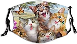 Mascarilla de cara de gato divertida con bolsillo de filtro, lavable, pasamontañas, máscara de tela reutilizable con 2 filtros, divertido gato partido para hombre/mujer