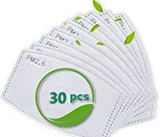 30 filtros de carbón activado PM2.5 para adultos, 5 capas, reemplazables