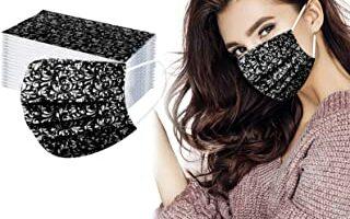 Bonitas Impresión de Moda Negra y Blanca Tela No Tejida De 3 Capas Filtros de Alta Densidad